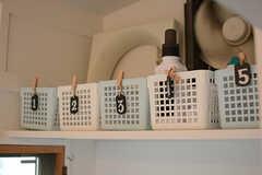 専有部ごとの洗剤などを収納しておけるカゴが設置されています。(2018-02-01,共用部,LAUNDRY,1F)