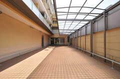 アプローチは駐輪場を兼ねています。  突き当りが正面玄関です。(2014-04-08,共用部,OTHER,1F)