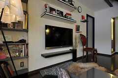 共用TVのまわりには、オーナーさんセレクトのオブジェや美術本が飾られています。(2011-05-10,共用部,TV,2F)