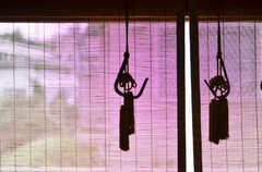 窓にはすだれ。タッセルのシルエットが良い感じです。(102号室)(2014-10-08,専有部,ROOM,1F)
