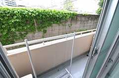 窓の外はベランダです。物干しができる器具が置かれています。(202号室)(2013-04-25,専有部,ROOM,2F)