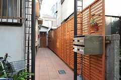玄関へのアプローチ。建物は奥まった場所にあります。(2012-09-14,周辺環境,ENTRANCE,1F)