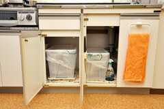 シンク下に収納されたゴミ箱の様子。(2009-02-02,共用部,OTHER,9F)