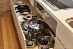 IHクッキングヒーターの下は、共用の鍋やフライパンが収納されています。(2017-04-17,共用部,KITCHEN,1F)