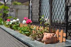外の花壇ではブタが日向ぼっこ中。(2013-04-15,共用部,OTHER,1F)