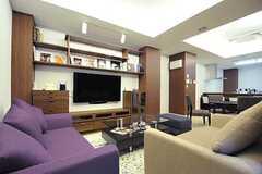 大きなTVボードがあります。(2013-02-12,共用部,LIVINGROOM,)