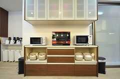 キッチンの対面にある収納には電子レンジや食器類が収まっています。(2013-02-12,共用部,KITCHEN,)
