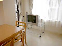コモンスペース(ラウンジ)脇に設置された共用TV(2007-01-22,共用部,LIVINGROOM,3F)