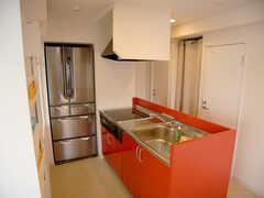 キッチンの様子2。オレンジとブルーのトレイは入居者用のストッカー。(2007-01-22,共用部,KITCHEN,3F)
