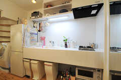 タイル張りのキッチン。シンク下にはゴミ箱が置かれています。(2013-10-10,共用部,KITCHEN,1F)