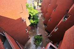 ベランダから見下ろしたマンションの中庭。(2014-05-09,専有部,ROOM,5F)