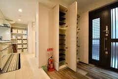 内部から見た玄関の様子。靴箱は専有部ごとにスペースが決められています。靴箱は2箇所設置されています。(2017-04-11,周辺環境,ENTRANCE,1F)
