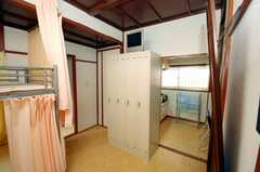 ドミトリーの様子4。鍵付きのロッカーの様子。ロッカー上にはTVがあった。(201号室)(2008-08-13,専有部,ROOM,2F)