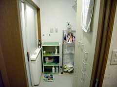 脱衣所の様子。ここにもストッカーがあるので部屋に洗面用具を持ち帰らなくても良い(2007-12-19,共用部,BATH,1F)