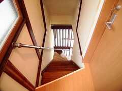 階段の様子。(2Fから1F)(2006-08-04,共用部,OTHER,1F)