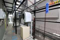 洗濯機と乾燥機の様子。物干し場もあります。(2010-09-14,共用部,LAUNDRY,1F)