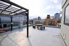 屋上の様子。物干しも出来る。(2009-03-10,共用部,LIVINGROOM,4F)