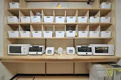 部屋ごとに分けられた食品置き場の様子。(2014-05-13,共用部,KITCHEN,1F)