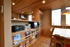 ダイニングテーブル側にはトースター、電気ケトル、オーブンレンジが設置されています。(2018-09-03,共用部,KITCHEN,2F)