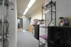 キッチンから見た廊下の様子。突き当りは水まわり設備です。(2013-09-02,共用部,KITCHEN,2F)