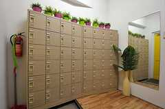 靴箱の様子。各専有部ごとに1つ用意されています。(2011-08-10,周辺環境,ENTRANCE,1F)