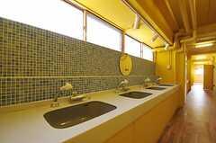 廊下に併設された洗面台の様子。シャワー水栓となっています。(2011-08-10,共用部,OTHER,4F)