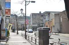 京王線・聖蹟桜ヶ丘駅からシェアハウスへ向かう道の様子。桜並木です。(2015-02-21,共用部,ENVIRONMENT,1F)