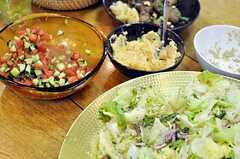 並んだイスラエル料理。(2012-04-22,共用部,PARTY,)