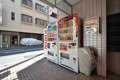 玄関前に設置された自販機の様子。(2016-03-02,共用部,OTHER,1F)