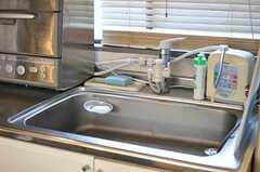 シンクの様子。浄水器と食器洗浄機が設置されています。(2013-02-14,共用部,KITCHEN,2F)