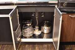 シンクの下は共用の鍋やボウルが収納されています。(2017-01-18,共用部,KITCHEN,1F)