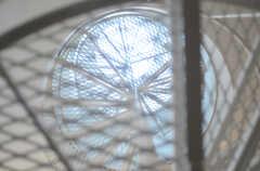 階段上部を見上げると、天窓があります。階段のステップも明かりを通すよう設計されています。(2011-09-26,共用部,OTHER,3F)