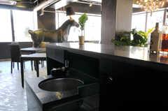 カウンターテーブルには、引き出し式のシンクが設置されています。(2012-04-09,共用部,LIVINGROOM,1F)