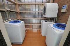 洗濯機と乾燥機の様子。乾燥機は有料です。(2011-07-05,共用部,LAUNDRY,5F)